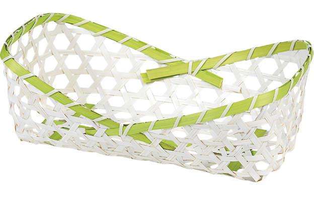Corbeille bambou rectangle - liseré vert : Trays, baskets