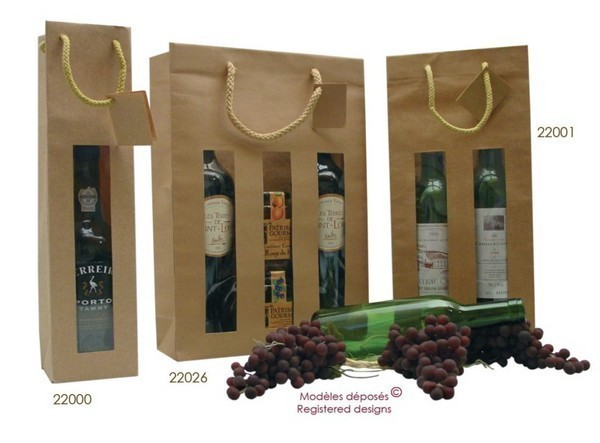 Kraft bag for 1, 2 or 3 bottles  : Bottles packaging and local products