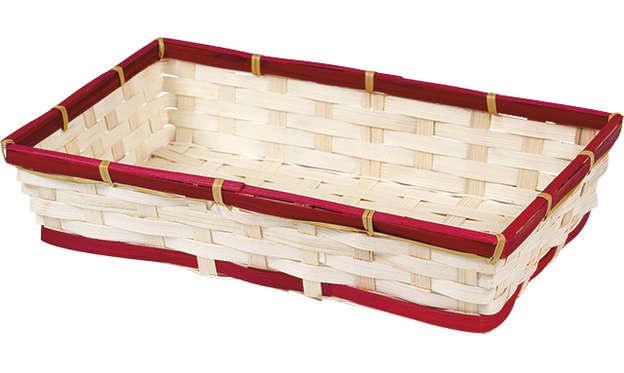 Corbeille bambou rectangle - liseré rouge : Trays, baskets