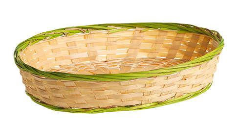 Corbeille bambou ovale - liseré vert  : Trays, baskets