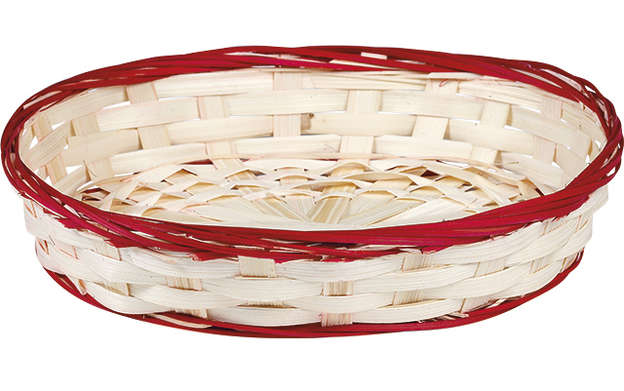 Corbeille bambou ovale - liseré rouge : Trays, baskets