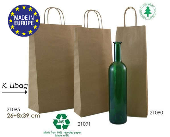 Kraft Bags for 1, 2, 3  bottles K.libag : Bottles packaging and local products