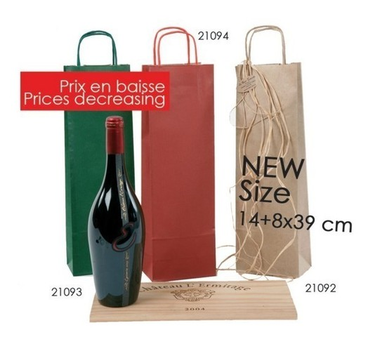 Kraft bag brown laid 1 bottle : Bottles packaging