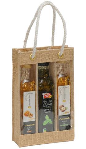 Sac toile de jute 3 bouteilles d'huile d'olives : Bottles packaging