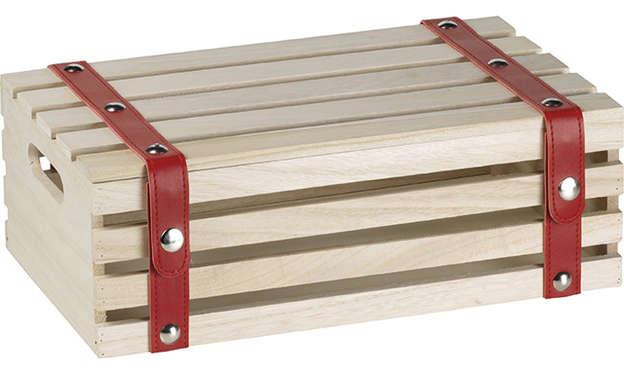 Coffret bois rectangle et lanières rouge  : Boxes