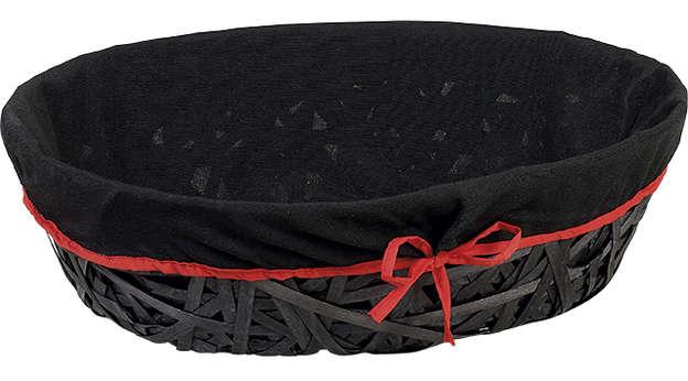 Corbeille bois ovale noire + liseré rouge : Trays, baskets