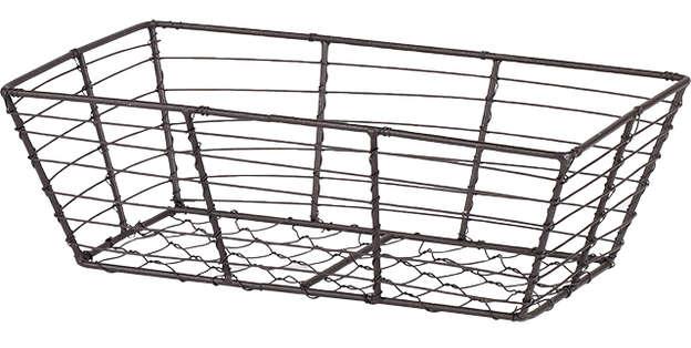 Corbeille métal rectangle effet vieilli : Trays, baskets