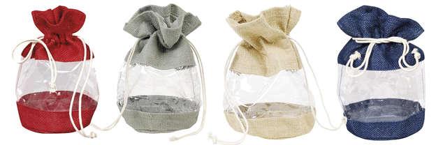Pochons toile de jute colorés + fenêtre : Small bags
