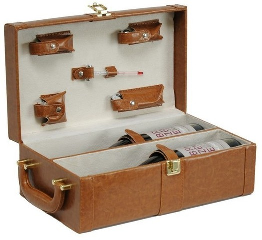Synthetic leather box for 2 bottles : Bottles packaging and local products