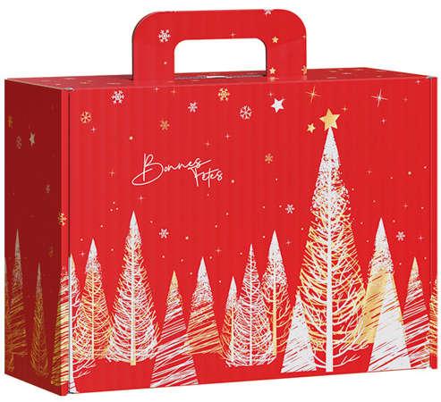 """Valisettes carton rouge et or """"Bonnes fêtes"""" : Boxes"""