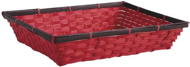 Manne en bambou rouge : Trays, baskets