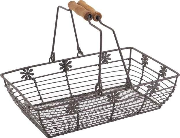 Panier métal rectangle à fleur : Trays, baskets