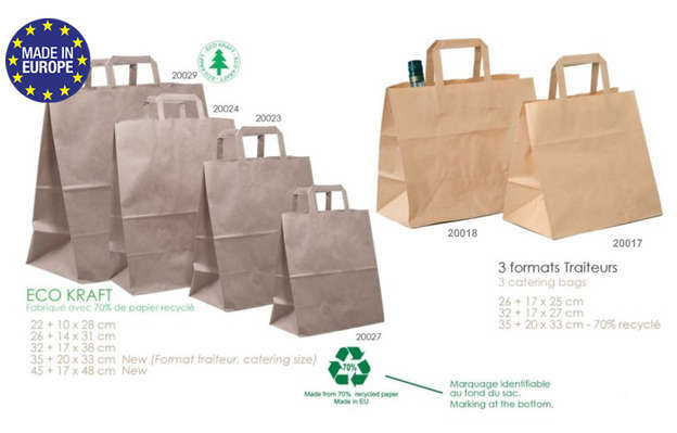 Brown kraft bag 70% recycled paper : Bags