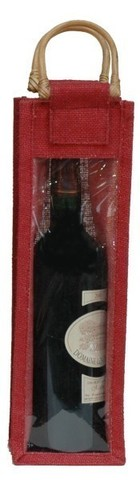 Burgundy jute bottle bag for 1 bottle, with window  : Bottles packaging