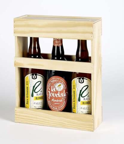 Coffret bois 3 bières 75cl : Bottles packaging