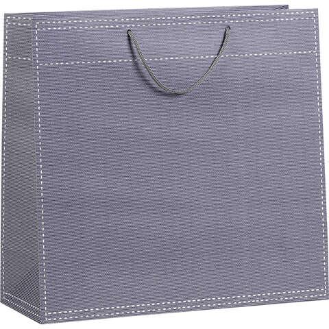 Sac papier gris poignées corde 120g / Oeillet de fermeture  : Bags