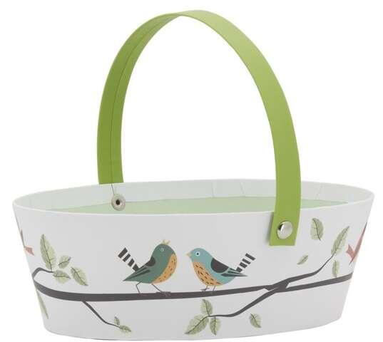 Panier en carton avec anse mobile décor oiseaux : Trays, baskets