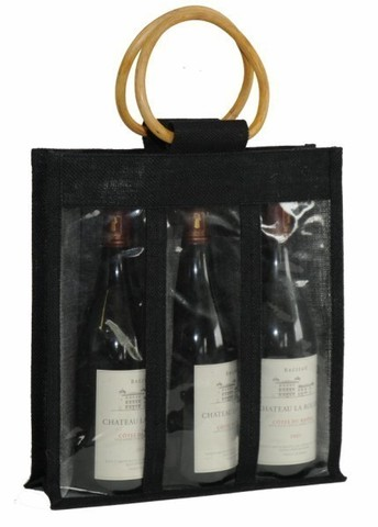 Jute bottles bag with window for 3 bottles 75 cl  : Bottles packaging