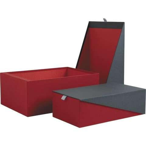 Coffret en carton rouge et gris : Boxes