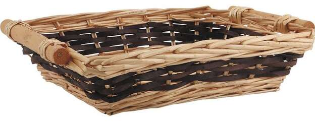 Wicker and tinted wood basket  40-35x30x9cm  : Trays, baskets