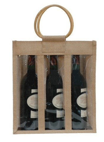 Jute bottles bag with window for 3 bottles 75 cl : Bottles packaging and local products