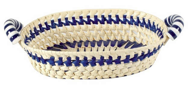 Palm basket + ceramic 36x28x8-12 cm : Trays, baskets