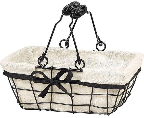 Panier métal rectangle noir/tissu : Trays, baskets
