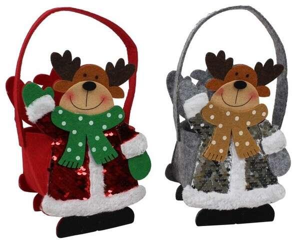 Lot de 2 Sacs feutrine Cerfs de Noël : Celebrations