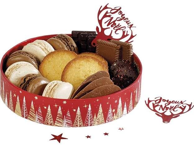 Corbeille carton ronde Bonnes fêtes rouge : Boxes