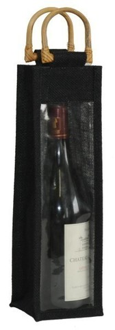 Black jute bottle bag with window for 1 bottle 75 cl : Bottles packaging and local products