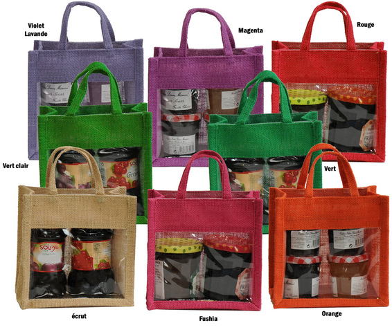 Jute bag with window, jute handles  : Celebrations
