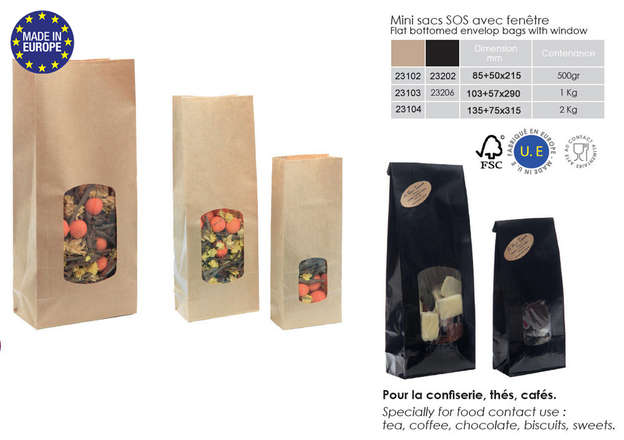 Mini window kraft bags for local products : Celebrations