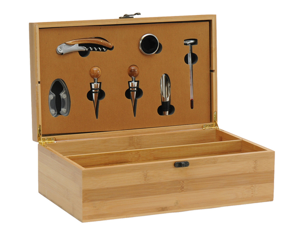 Natural wooden box for 2 bottles +7 lux accessories : Bottles packaging