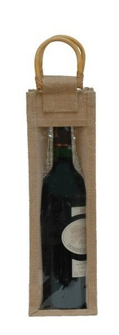 Jute bottle bag for 1 bottle with window : Bottles packaging and local products