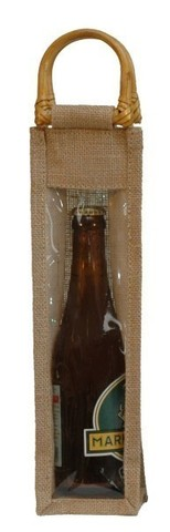 Jute bottle bag with window for 1 bottle 37.5 cl : Bottles packaging