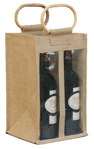 Jute bottles bag with window for 4 bottles 75 cl  : Bottles packaging and local products