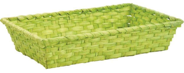 Bamboo Basket tinted anise 33 x 20 x 7 cm : Trays, baskets