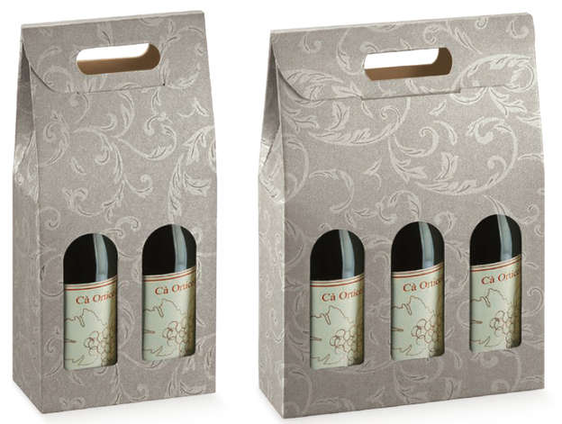 Grey Cardboard box for 2 and 3 bottles 0.75cl : Bottles packaging and local products