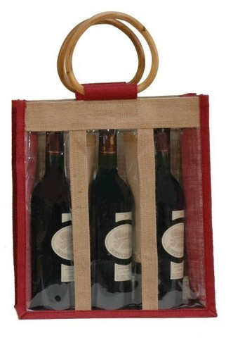 Jute bottles bag with window for 3 bottles 75cl : Bottles packaging and local products