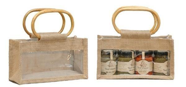 Jute bag for 3 jars x 250 or 125 gr : Jars packing