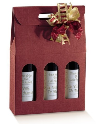 Burgundy Milan for 3 bottles : Bottles packaging