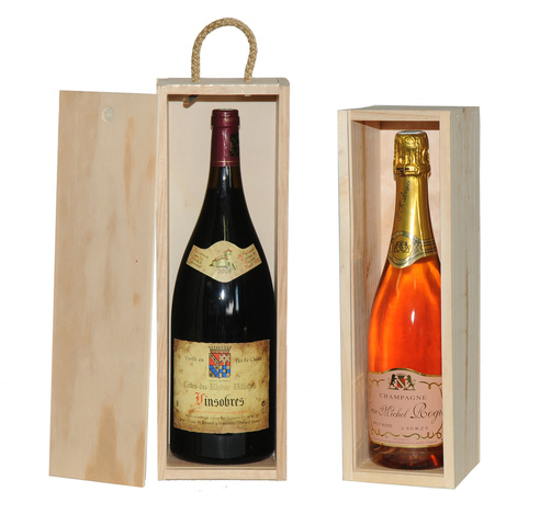 Wooden box 1 bottle MAGNUM and CHAMPAGNE : Bottles packaging and local products