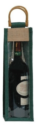 jute's bottle bag with window for 1 bottle 75 cl  : Bottles packaging