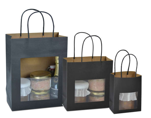 Kraft bag with window - Intense Black : Bags