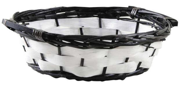 Corbeille ronde en osier fendu et bois : Trays, baskets