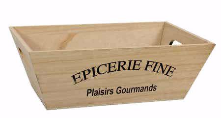 "Corbeille bois rectangulaire ""Epicerie Fine"" : Trays, baskets"