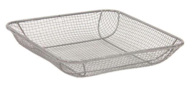 Corbeille grillage rectangulaire métal argenté : Trays, baskets